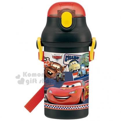 〔小禮堂〕迪士尼 Cars 閃電麥坤 日製彈跳吸管水壺《黑紅.95》400ml.附背繩