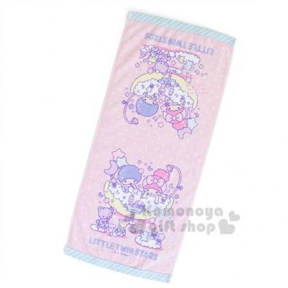 〔小禮堂〕雙子星 純棉長毛巾《粉藍.點點.朋友》34x76cm.澡晨時光系列