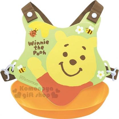 〔小禮堂〕迪士尼 小熊維尼 日製防水矽膠圍兜附背帶《綠橘.蜜蜂》口水圍兜.口水巾