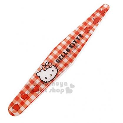 〔小禮堂〕Hello Kitty 海綿指甲銼刀《紅.格紋.大臉》美甲小物