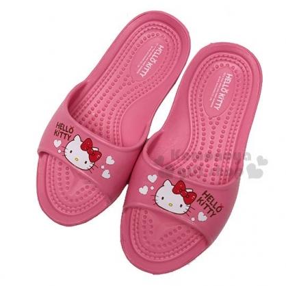 〔小禮堂〕Hello Kitty 塑膠室內拖鞋《桃粉.大臉.愛心》輕量防滑.乾濕兩用