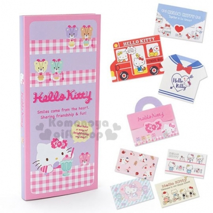 〔小禮堂﹞Hello Kitty 日製信紙組《粉紫.格子.聖代》便條紙.信封