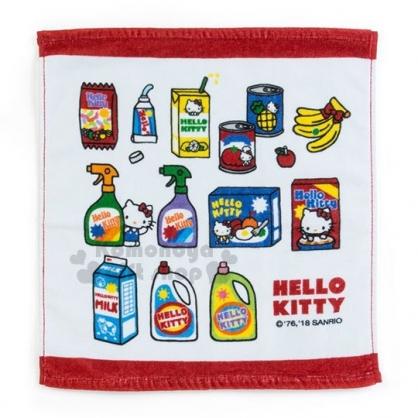 〔小禮堂〕Hello Kitty  純棉方型毛巾《白.紅邊》34x35cm.美式超市系列