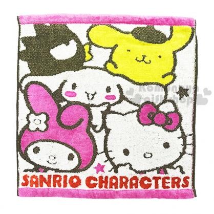 〔小禮堂〕Sanrio大集合 棉質方形毛巾《米粉.多角色》34x36cm