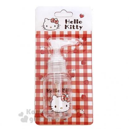 〔小禮堂﹞Hello Kitty 按壓式空瓶《紅.愛心.大臉.格子》50ml.空罐.分裝瓶罐