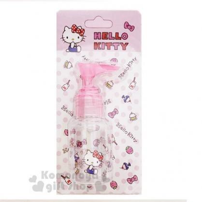 〔小禮堂﹞Hello Kitty 按壓式空瓶《粉.草莓.吊帶褲》50ml.空罐.分裝瓶罐
