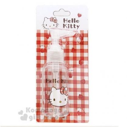 〔小禮堂﹞Hello Kitty 按壓式空瓶《紅.愛心.大臉.格子》75ml.空罐.分裝瓶罐