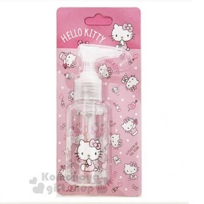 〔小禮堂﹞Hello Kitty 按壓式空瓶《粉.化妝品.點點褲》75ml.空罐.分裝瓶罐