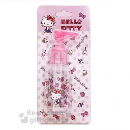 〔小禮堂﹞Hello Kitty 按壓式空瓶《粉.草莓.吊帶褲》75ml.空罐.分裝瓶罐