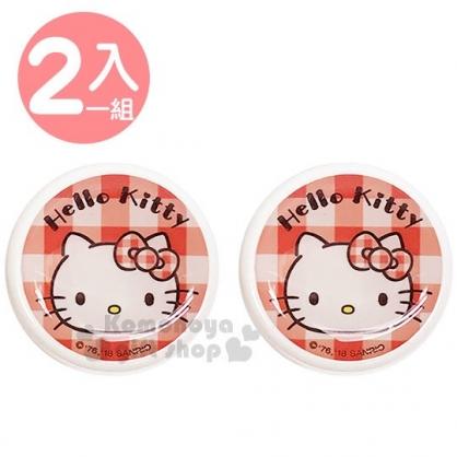 〔小禮堂〕Hello Kitty 乳液盒組《2入.紅.大臉.格子》空罐.分裝瓶罐