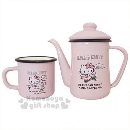 〔小禮堂〕Hello Kitty 琺瑯咖啡手沖壺組《粉.素描.白盒裝》琺瑯杯.咖啡杯