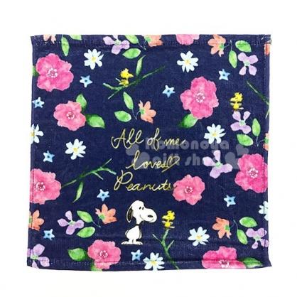 〔小禮堂〕史努比 棉質方形毛巾《深藍.花.站姿.滿版》方巾.34x35cm