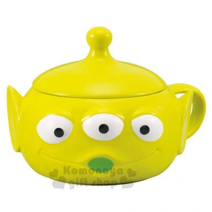 〔小禮堂〕迪士尼 玩具總動員 三眼怪 造型陶瓷馬克杯附蓋《綠.大臉》320ml.湯杯