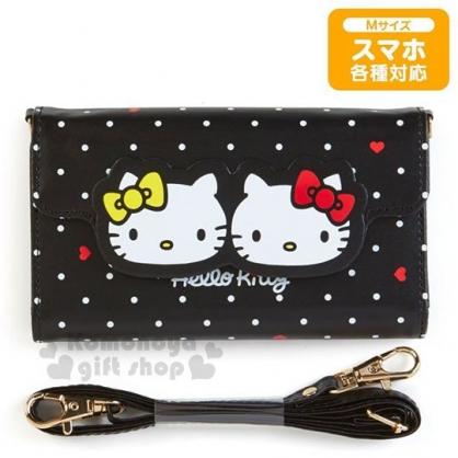 〔小禮堂〕Hello Kitty 皮質掀蓋手機殼附背帶《黑.姊妹》多機種適用.手機包