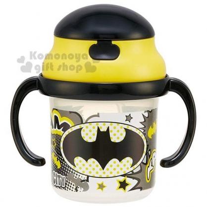 〔小禮堂〕蝙蝠俠 雙耳吸管學習杯《黃黑》230ml.練習杯.兒童水杯