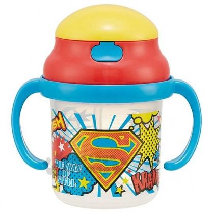 〔小禮堂〕超人 雙耳吸管學習杯《藍.黃紅蓋》230ml.練習杯.兒童水杯