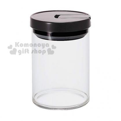 〔小禮堂〕HARIO 氣壓式玻璃密封罐《M.透明.黑蓋》800ml.保鮮罐.咖啡罐