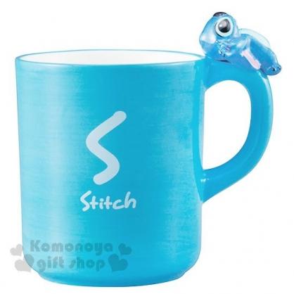 〔小禮堂〕迪士尼 史迪奇 造型陶瓷馬克杯《藍.杯邊玩偶》260ml.精緻盒裝