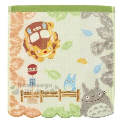 〔小禮堂〕宮崎駿 Totoro龍貓 純棉方形毛巾《橘綠.花邊下擺》方巾