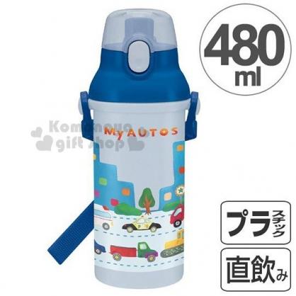 〔小禮堂〕AUTOS 小汽車 日製直飲水壺《藍白.街道.車》480ml.附背帶