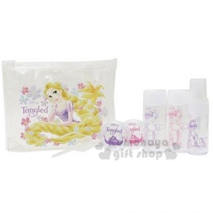〔小禮堂〕迪士尼 長髮公主 魔髮奇緣 旅行盥洗組附包《透明.撐投》5件組.空瓶.空罐