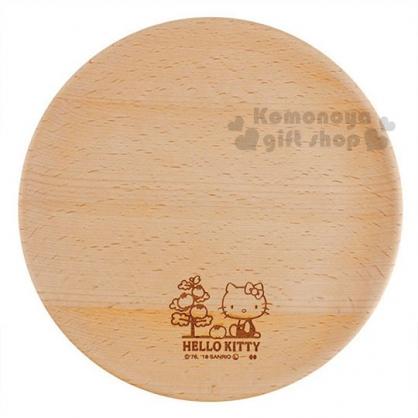 〔小禮堂〕Hello Kitty 木質圓盤《棕.側坐.番茄樹》菜盤.點心盤
