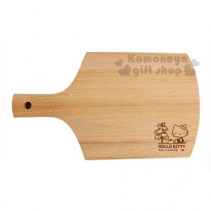 〔小禮堂〕Hello Kitty 木質砧板《棕.側坐.番茄樹》托盤.餐盤