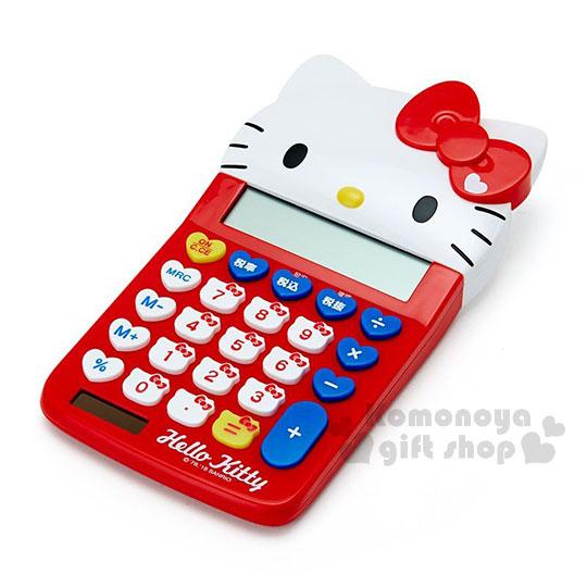 〔小禮堂〕Hello Kitty 造型計算機《紅.大臉.大臉按鍵》12位元