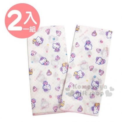 〔小禮堂〕台灣佳美 Hello Kitty 嬰兒紗布澡巾《2入.白.蛋糕.滿版》60x30cm.手帕.口水巾