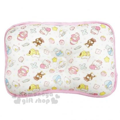 〔小禮堂〕台灣佳美 Sanrio大集合 棉質嬰兒枕頭《粉白.睡覺.滿版》寶寶枕.定型枕.午睡枕