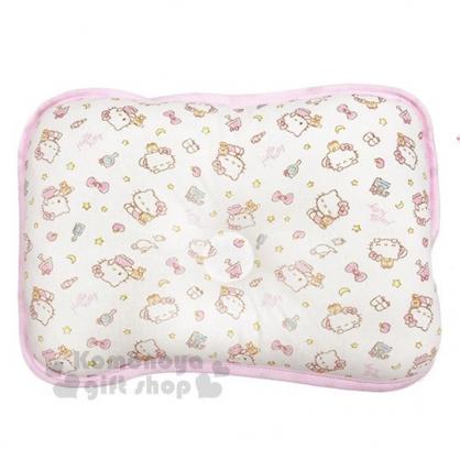 〔小禮堂〕台灣佳美 Hello Kitty 棉質嬰兒枕頭《粉白.滿版》寶寶枕.定型枕.午睡枕