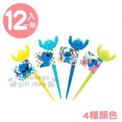〔小禮堂〕迪士尼 史迪奇 日製造型食物叉組《12入.黃藍.大臉》甜點叉.裝飾叉