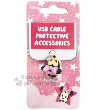 〔小禮堂〕迪士尼 米妮 造型傳輸線保護套《粉.趴姿.雲朵》充電線.USB線套