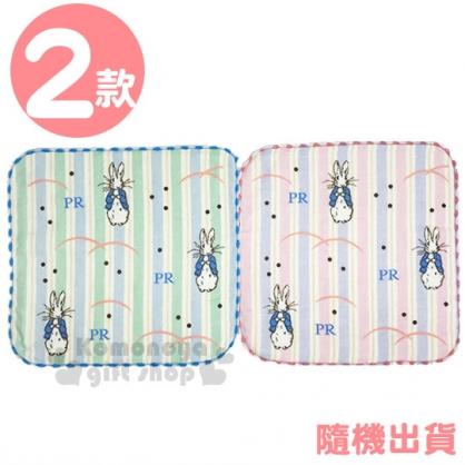 〔小禮堂〕彼得兔 棉質圓角小方巾《2款隨機.滿版.直紋.粉/藍》25x25cm.毛巾.手帕