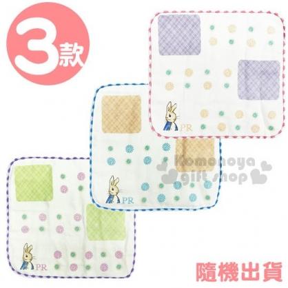 〔小禮堂〕彼得兔 棉質圓角小方巾《3款隨機.方塊.點點.粉/藍/紫》25x25cm.毛巾.手帕