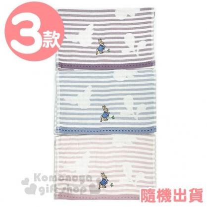 〔小禮堂〕彼得兔 棉質長毛巾《3款隨機.橫條紋.粉/藍/紫》27x52cm