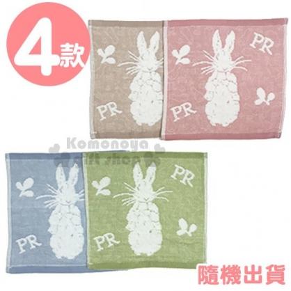 〔小禮堂〕彼得兔 棉質小方巾《4款隨機.剪影.粉/棕/藍/綠》25x25cm.毛巾.手帕