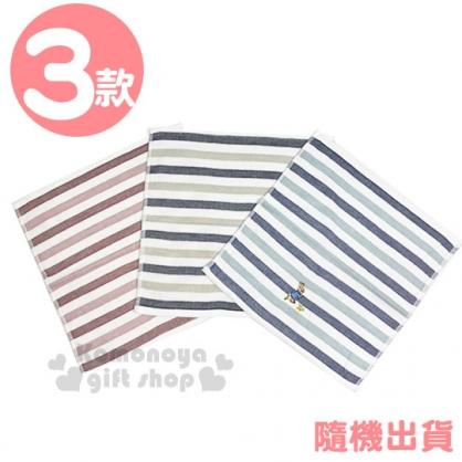 〔小禮堂〕彼得兔 棉質方形毛巾《3款隨機.橫條紋.藕粉/藍/灰綠》34x34cm