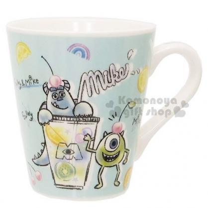 〔小禮堂〕迪士尼 怪獸大學 陶瓷馬克杯《綠.飲料杯.水果》咖啡杯.精緻盒裝