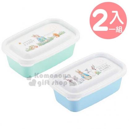 〔小禮堂〕彼得兔 日製方形保鮮盒組《2入.綠白.拔蘿蔔》450ml.便當盒.食物盒