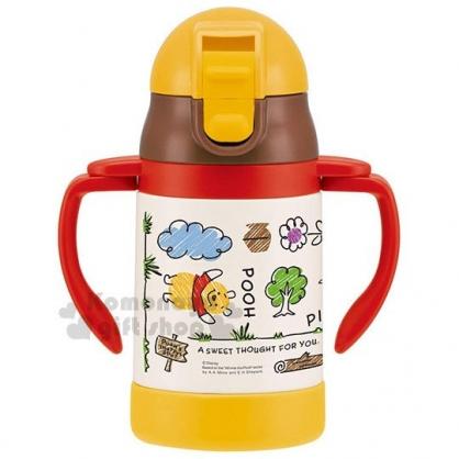 〔小禮堂〕迪士尼 小熊維尼 幼兒雙耳吸管學習杯《紅白黃.手繪》240ml.輕量不鏽鋼
