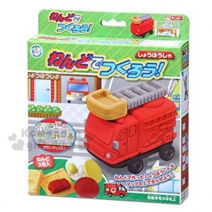 〔小禮堂〕日本銀島 消防車黏土模具組《3色.綠盒裝》兒童玩具.美勞玩具