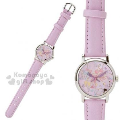 〔小禮堂〕蹦蹦兔 皮革錶帶兒童手錶《紫.造型指針》腕錶.休閒錶.透明盒裝