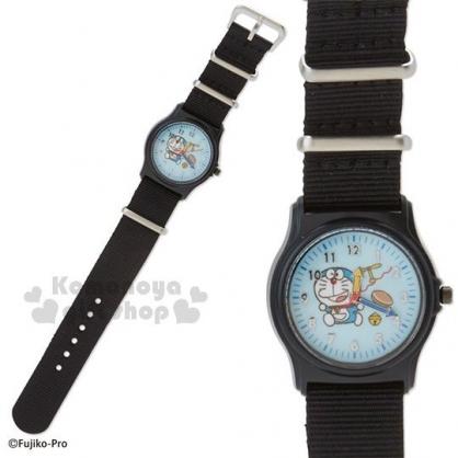 〔小禮堂〕哆啦A夢 尼龍帆布錶帶兒童手錶《藍黑》腕錶.休閒錶.透明盒裝