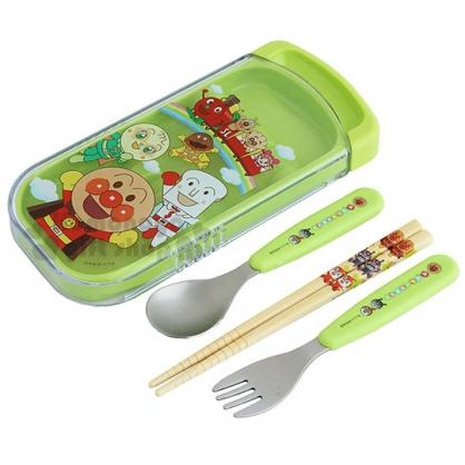 〔小禮堂〕麵包超人 滑蓋三件式餐具組《綠.舉手》環保餐具.兒童餐具