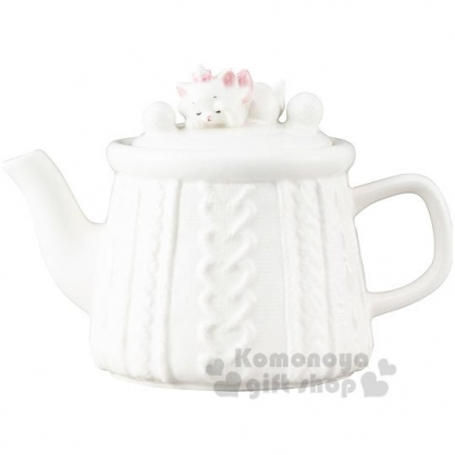 〔小禮堂〕迪士尼 瑪麗貓 造型陶瓷茶壺《白》水壺.咖啡壺.精緻盒裝