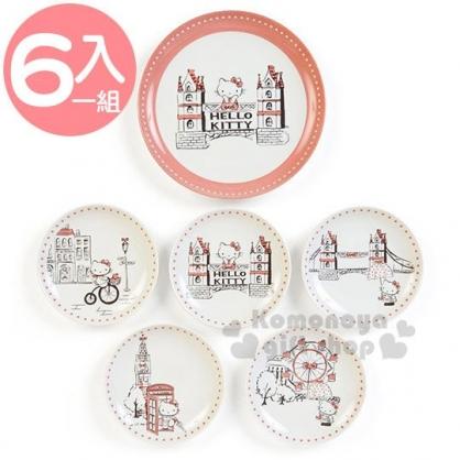 〔小禮堂〕Hello Kitty 日製陶瓷圓盤組《6入.米》點心盤.精緻盒裝.YAMAKA陶瓷