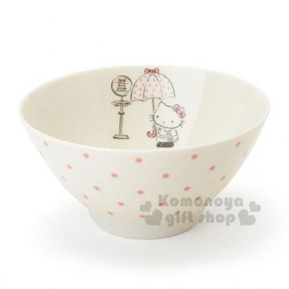 〔小禮堂〕Hello Kitty 日製陶瓷碗《米.撐傘》飯碗.精緻盒裝.YAMAKA陶瓷