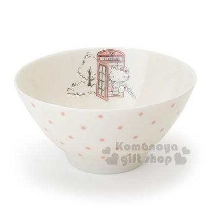〔小禮堂〕Hello Kitty 日製陶瓷碗《米.電話亭》飯碗.精緻盒裝.YAMAKA陶瓷