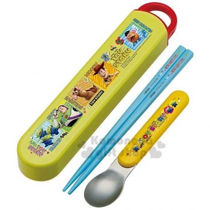〔小禮堂〕迪士尼 玩具總動員 日製滑蓋兩件式餐具組《青綠.紅》匙筷.環保餐具